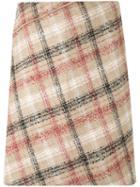 Carven Plaid Woven Skirt