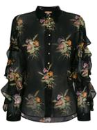 No21 Floral Print Sheer Ruffled Blouse - Black