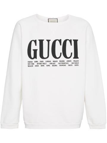 Gucci World Cities Print Cotton Sweatshirt - White
