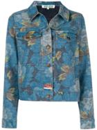 Kenzo Floral Print Denim Jacket - Blue