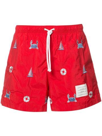 Thom Browne Printed Swim Shorts, Men's, Size: 4, Red, Nylon
