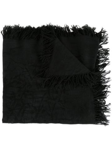 Kazuyuki Kumagai Frayed Edge Scarf, Men's, Black, Rayon/silk