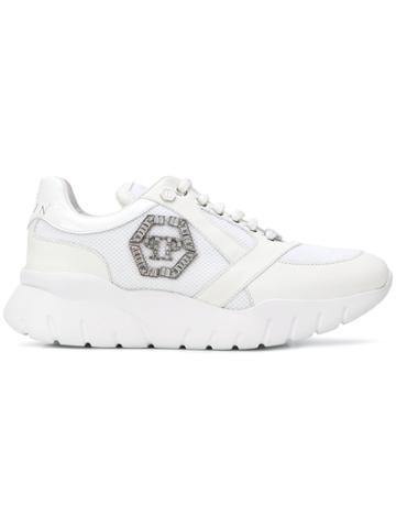 Philipp Plein Logo Embellished Runners - White