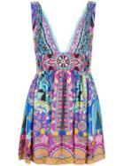 Camilla Embellished Printed Mini Dress, Women's, Size: 10, Silk