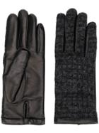Agnelle Leather Knitted Gloves - Black