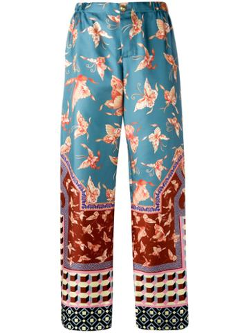 F.r.s For Restless Sleepers Multiple Patterns Straight Trousers, Women's, Blue, Silk