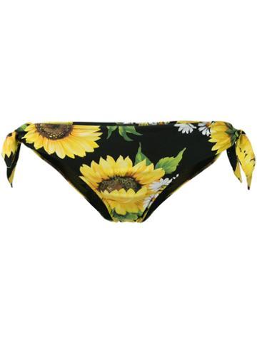 Dolce & Gabbana Sunflower Print Bikini Bottoms, Women's, Size: 2, Black, Polyamide/spandex/elastane