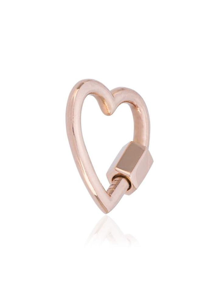 Marla Aaron 14kt Rose Gold Baby Heart Lock Charm - Metallic