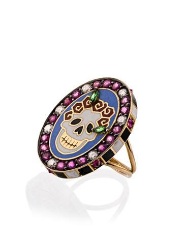 Holly Dyment 18k Yellow Gold Skull Sunday Diamond Sapphire Ring -