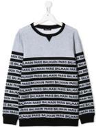 Balmain Kids Teen Logo Stripe Sweatshirt - Grey