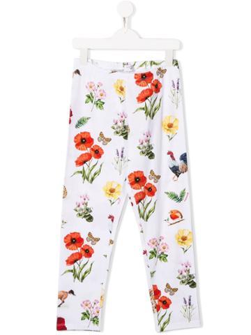 Monnalisa Teen Floral Print Leggings - White