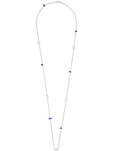 Chanel Vintage Stone Effect Long Necklace - Metallic