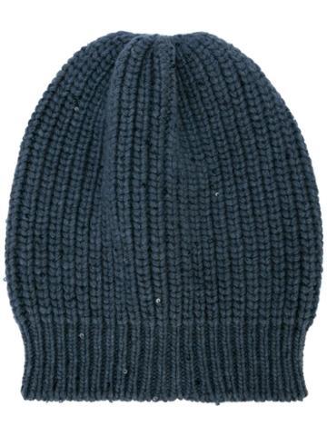 Brunello Cucinelli Knitted Beanie Hat - Grey