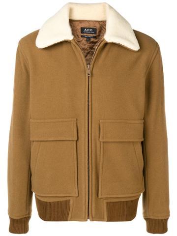 A.p.c. Shearling Collar Jacket - Brown