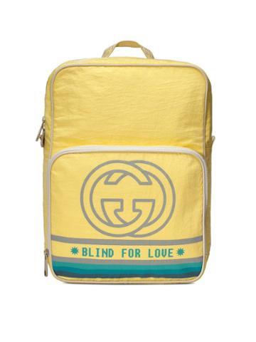 Gucci Medium Backpack With Interlocking G Print - Yellow & Orange