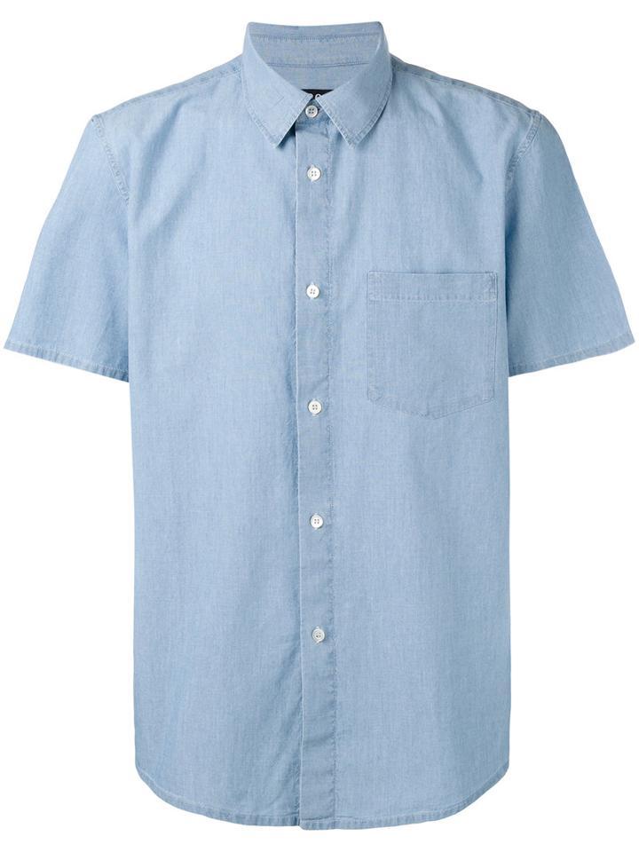 A.p.c. Shortsleeve Shirt, Men's, Size: Large, Blue, Cotton