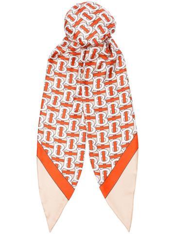 Burberry Orange Monogram Silk Hair Tie