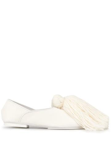Jil Sander Tassel Detail Loafers - White