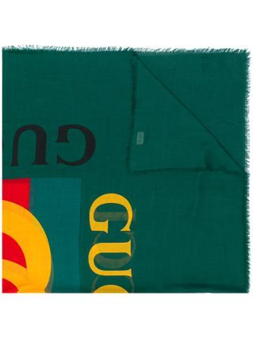 Gucci Gucci Logo Shawl - Green
