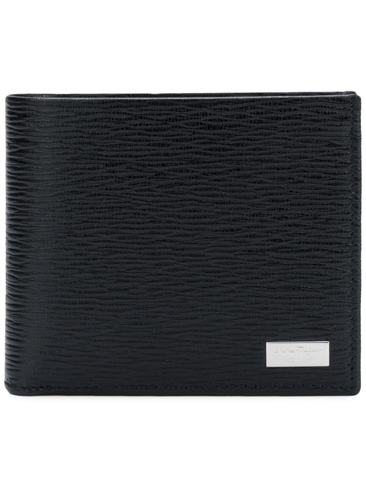 Salvatore Ferragamo Foldover Textured Wallet - Black