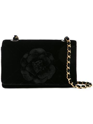 Chanel Vintage Camellia Floral Applique Handbag - Black