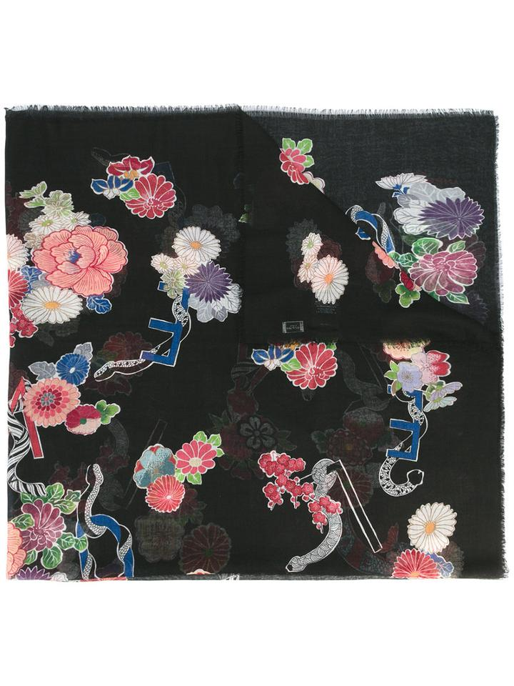 Saint Laurent Floral Scarf, Women's, Black, Wool