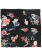 Saint Laurent Floral Scarf, Women's, Black, Wool