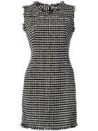 Alexander Mcqueen Textured Frayed Mini Dress - Black