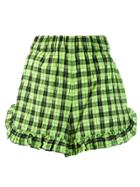 Ganni Ruffled Plaid Shorts - Green