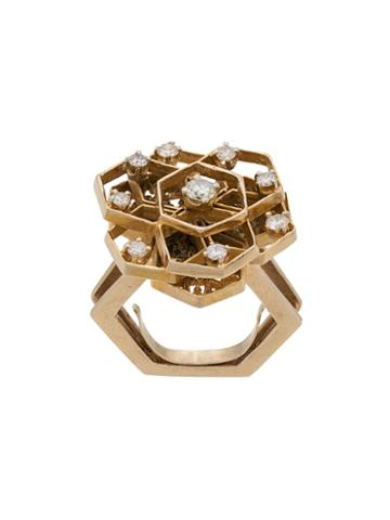 Katheleys Pre-owned 1970s Geometric Cutout Ring - Gold/diamond
