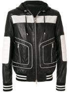 Balmain Colour-block Hooded Biker Jacket - Black