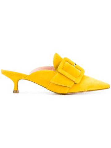 Anna F. Pointed Toe Mules - Yellow & Orange