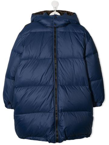 Fendi Kids Padded Hooded Coat - Blue