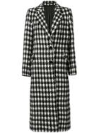 Tagliatore Houndstooth Long Coat - Black