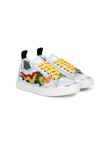 Am66 Teen Dragon Embroidered Sneakers - Metallic