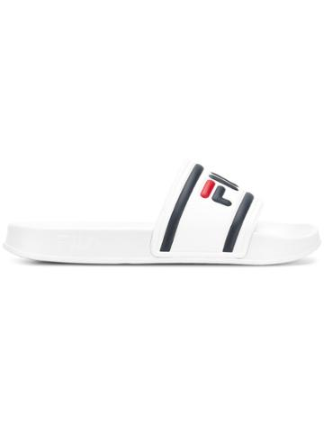 Fila Logo Pool Sliders - White