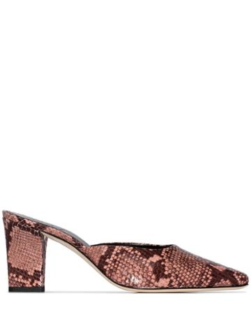 Aeyde Signe Snake-effect Mules - Pink