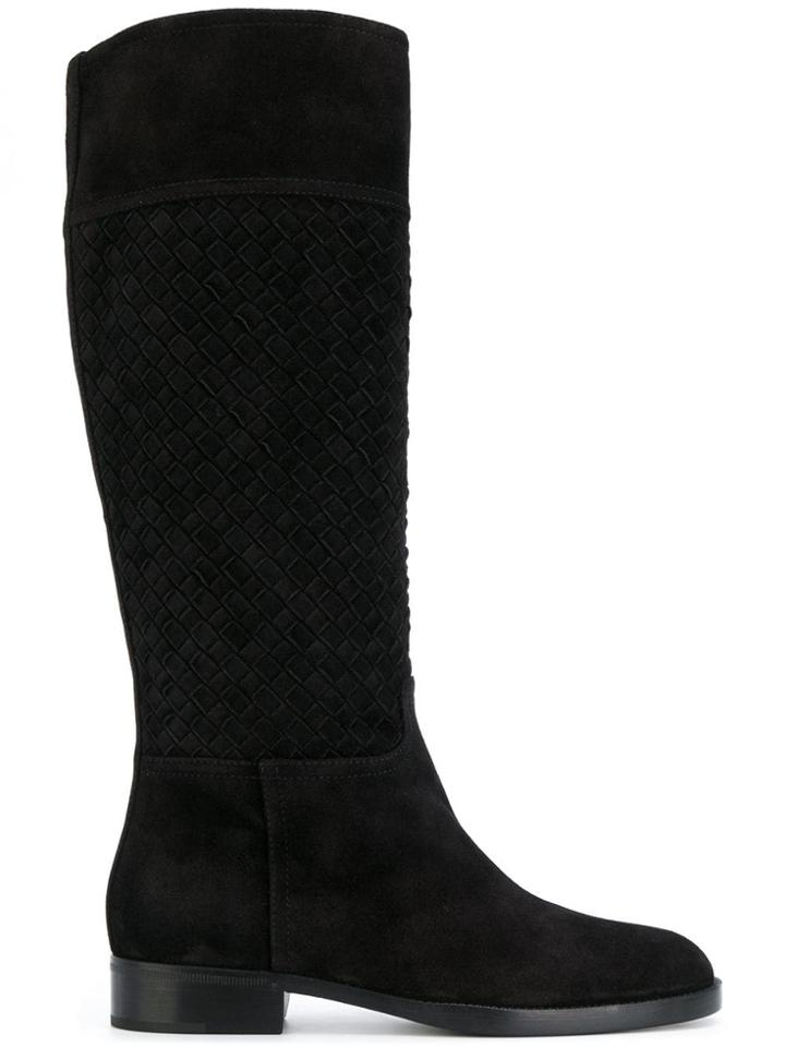 Bottega Veneta Woven Riding Boots - Black