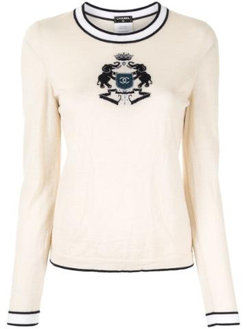 Chanel Pre-owned Intarsia Elephants Slim-fit Jumper - White