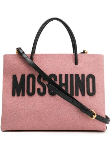 Moschino Medium Glitter Shopping Bag - Pink