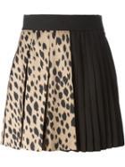 Fausto Puglisi Leopard Panel Pleated Mini Skirt