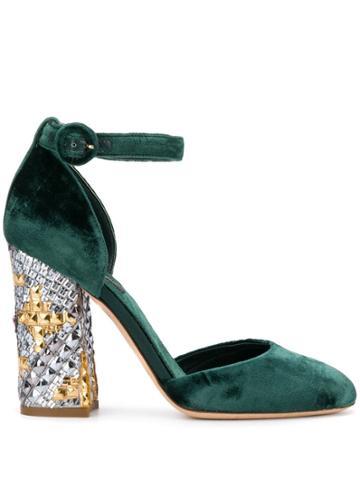 Dolce & Gabbana Vintage 2000's Studded Chunky Heel Pumps - Green
