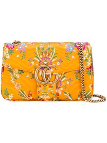Gucci - Gg Marmont Jaquard Shoulder Bag - Women - Silk - One Size, Yellow/orange, Silk