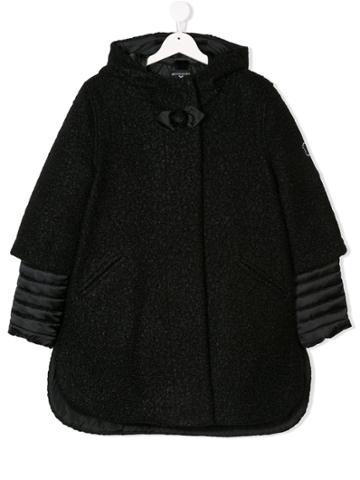 Monnalisa Teen Hooded Quilted Detail Coat - Black