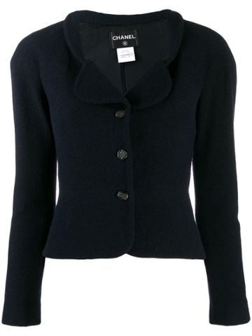 Chanel Pre-owned Cropped Fitted Jacket - Blue