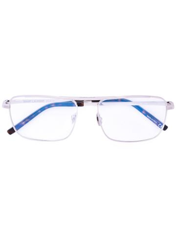 Saint Laurent - Rectangle Frame Glasses - Unisex - Metal (other) - One Size, Grey, Metal (other)