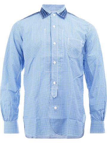 Junya Watanabe Comme Des Garçons Man Shoulder Detail Checked Shirt, Men's, Size: Medium, Blue, Cotton/nylon/polyurethane