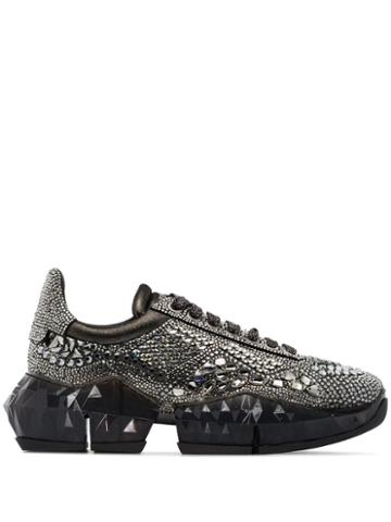 Jimmy Choo Diamond Chunky Embellished Sneakers - Grey