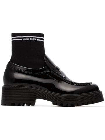 Miu Miu Sock Insert Patent Leather Loafers - Black