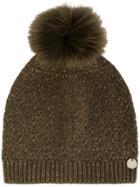 Yves Salomon Fox Fur Pompom Beanie - Brown